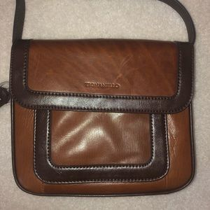 Tignanello Two Toned Brown Leather Crossbody